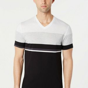 NWT Alfani mens Textured Colorblock V-Neck T-Shirt